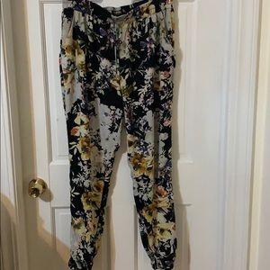 Floral print baggy jogger pants
